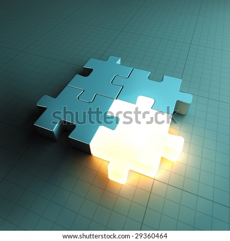 Jigsaw puzzle piece standing out - stock photo