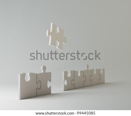 Jigsaw puzzle pieces - conceptual illustration - stock photo
