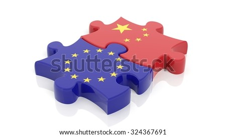 Jigsaw puzzle pieces, flag of EU and flag of China, isolated on white. - stock photo