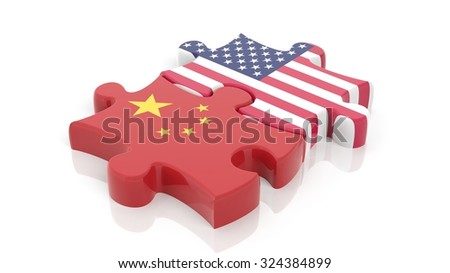 Jigsaw puzzle pieces, flag of USA and flag of China, isolated on white. - stock photo