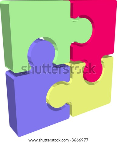 Jigsaw puzzle pieces. Illustration of Jigsaw puzzle pieces. Raster version - stock photo