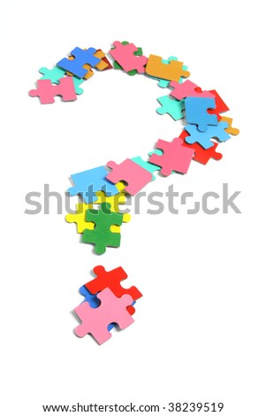 Jigsaw Puzzle Pieces in Question Mark - stock photo