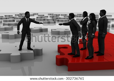 Jigsaw puzzle recruiting new staff. A successful team recruiting new staff like pieces of a jigsaw puzzle. - stock photo
