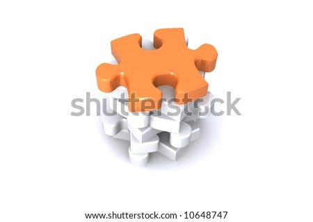 Jigsaw Puzzle Rendered Illustration, representing Teamwork, success and standing out from the crowd