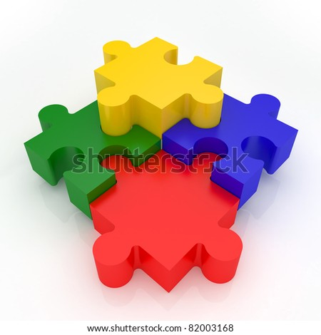 Jigsaw Puzzle representing teamwork and success - stock photo
