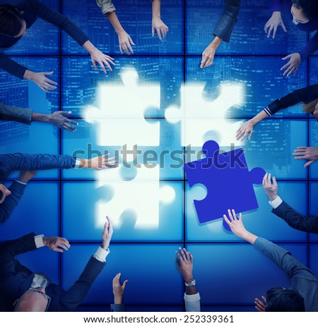 Jigsaw Puzzle Support Team Cooperation Togetherness Unity Concept - stock photo