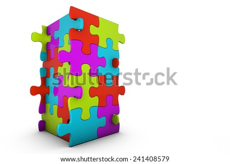 Jigsaw Puzzle Tower - stock photo