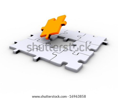 Jigsaw puzzle with a missing orange piece to complete