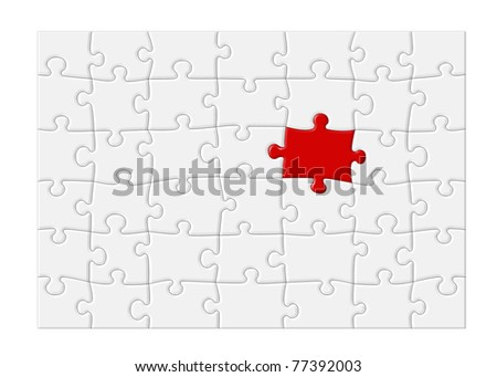 Jigsaw puzzle with blank white pieces and one red piece that stands out, isolated on white background with clipping path around outside of the puzzle. - stock photo