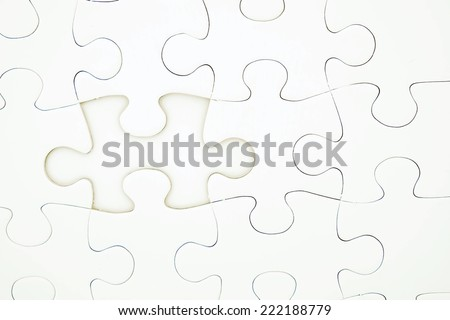 Jigsaw puzzle with missing one piece, for business concepts which are  problem solution, idea, teamwork etc. - stock photo