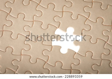 jigsaw puzzle with missing piece concept of business searching solution for problem - stock photo