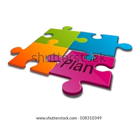 jigsaw puzzle with word of plan - stock photo