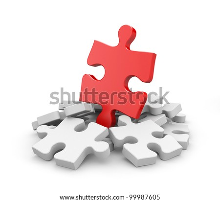 Jigsaw puzzles. Image contain clipping path - stock photo