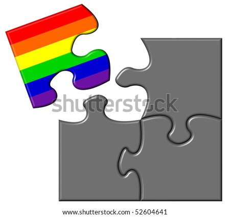 Jigsaw showing a piece containing a rainbow flag - stock photo