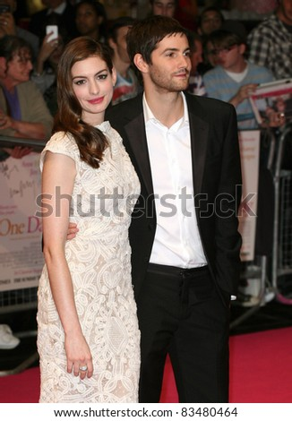 Jim Sturgess and Anne Hathaway arriving for the European Premiere of 'One Day' at Westfield, west London. 23/08/2011  Picture by: Alexandra Glen / Featureflash - stock photo