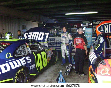 jimmy johnson in the garage at dover