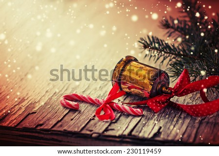 Jingle bell ,Christmas tree branches with copy space. - stock photo