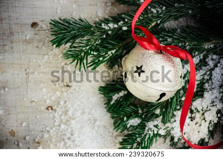 Jingle bell on Christmas tree  - stock photo