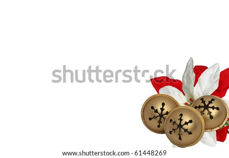Jingle Bells with a White and Red Poinsettia - stock photo