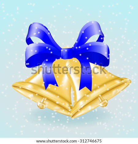 Jingle bells with blue bow. Christmas decoration on winter background. Raster version - stock photo