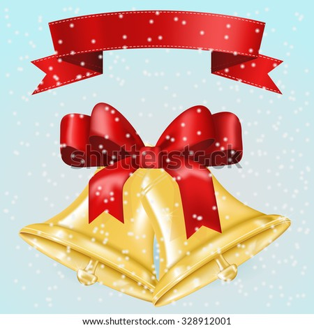 Jingle bells with red bow. Christmas decoration on winter background. Illustration isolated on white background. Raster version. - stock photo