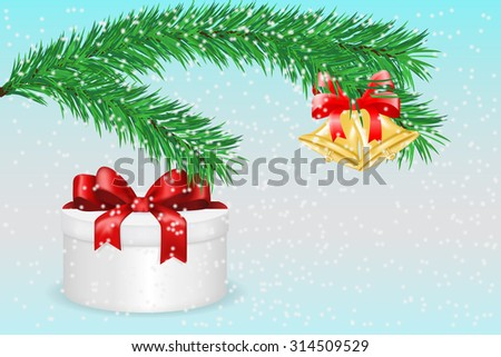 Jingle bells with red bow. Gift box. Christmas decoration. Raster version. Illustration  on winter background - stock photo