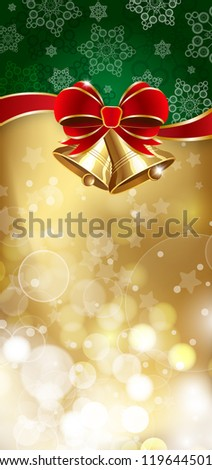 Jingle bells with red bow on a shines background. Raster version - stock photo