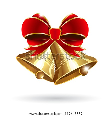 Jingle bells with red bow on a white background. Raster version - stock photo