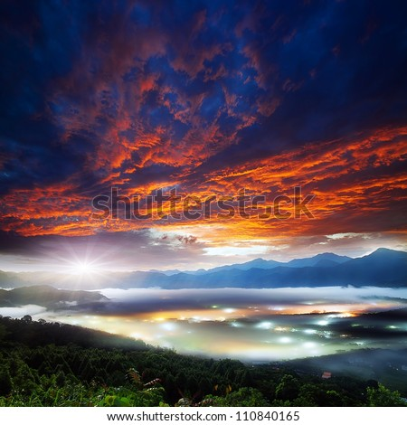Jinlong mounain sunrise, Taiwan - stock photo