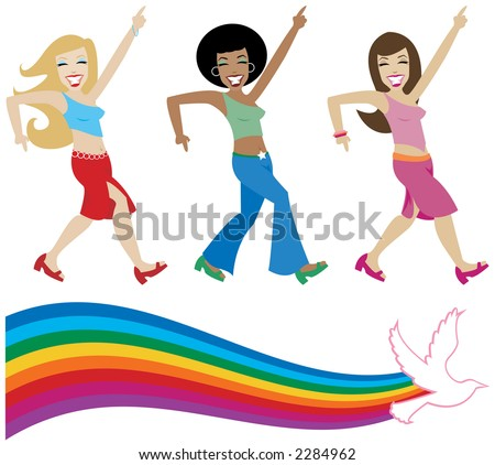 Jive girls from the seventies getting their groove on - includes a retro style rainbow with dove - stock photo