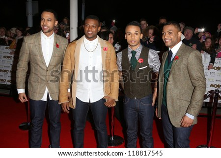 JLS arriving for The MOBO awards 2012 held at the Echo Arena, Liverpool. 03/11/2012 Picture by: Henry Harris - stock photo