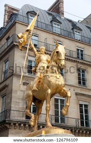Joan of arc statue, Place des piramides, Paris, Ile de France, France - stock photo