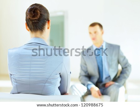 Job applicant having an interview in the office - stock photo