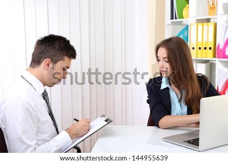 Job applicant having interview - stock photo