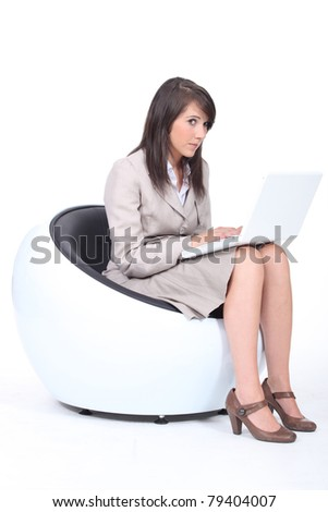 Job applicant waiting with laptop computer