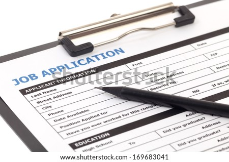 Job application form isolated on white background - stock photo