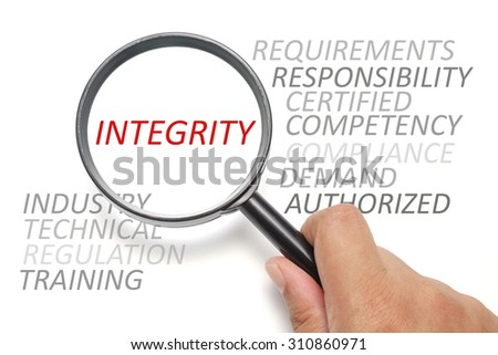 Job competency conceptual, focus on the word Integrity