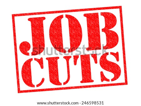 JOB CUTS red Rubber Stamp over a white background. - stock photo