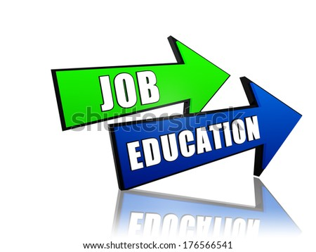 job education - text in 3d arrows, business professional growth concept words