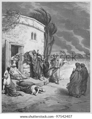 Job hearing of his ruin - Picture from The Holy Scriptures, Old and New Testaments books collection published in 1885, Stuttgart-Germany. Drawings by Gustave Dore. - stock photo