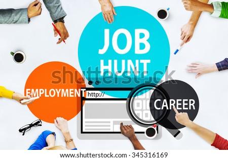 Job Hunt Employment Career Recruitment Hiring Concept - stock photo