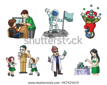 job illustration design collection