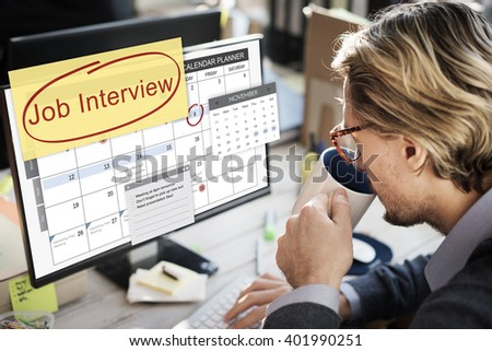 Job Interview Recruitment Human Resources Schedule Concept - stock photo