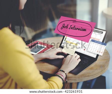 Job Interview Recruitment Human Resources Schedule Concept - stock photo