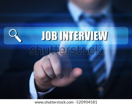 job interview text in search bar. career, business, technology and internet concept