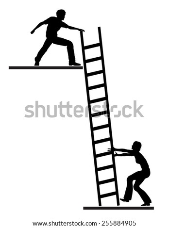 Job Mentoring. Concept sign of career or life coach assisting person to climb the ladder of success - stock photo