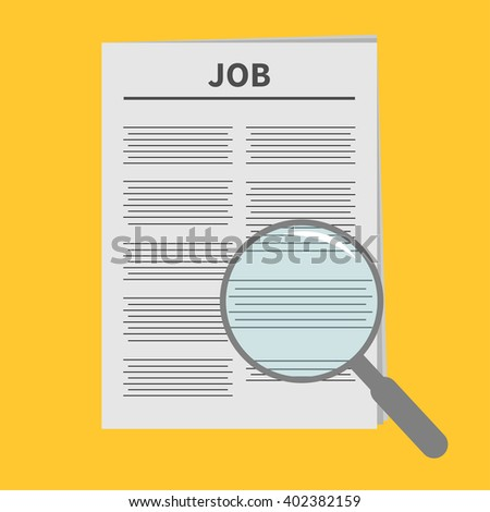 Job Newspaper icon Optic glass instrument Magnifier Search Flat design Isolated White background - stock photo