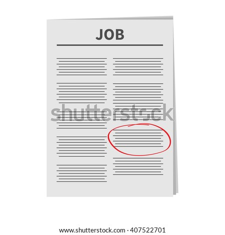 Job Newspaper icon Red pen skrible mark Flat design Isolated White background - stock photo