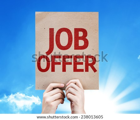 Job Offer card with beautiful day - stock photo