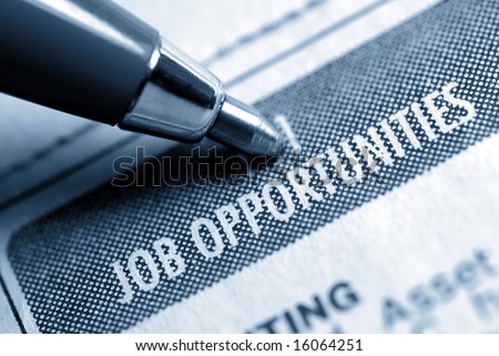 Job Opportunity Classified Advertising with Pen, Muted Duotone - stock photo